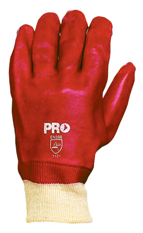 Glove - PVC 27cm Single Dipped Interlock Lined Knit Wrist ProChoice (No Chemical Rating) Red