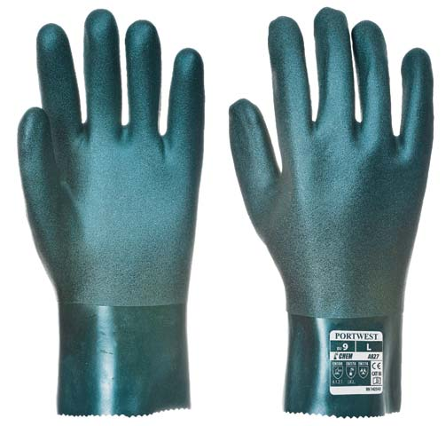 Glove - PVC 27cm Double Dipped Cotton Liner Portwest EN374-1:2003 Chemical Rated (JKL) Green - XL