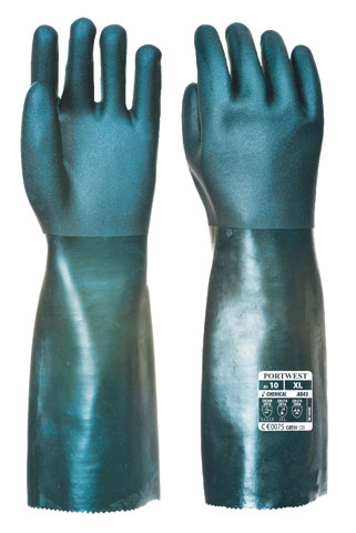 Glove - PVC 45cm Double Dipped Cotton Liner Portwest EN374-1:2003 Chemical Rated (JKL) Green - XL