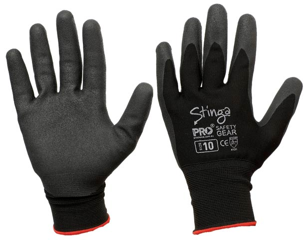 Glove - PVC Foam ProSense Stinga Coated Nylon Black - 11