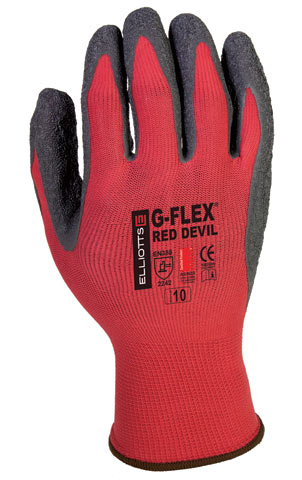 Glove- Latex Flat Dip Palm Elliott G-Flex Red Devil Red Nylon Liner - 11
