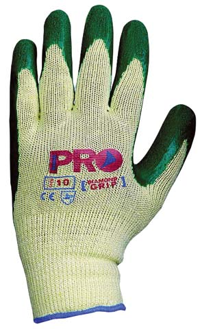 Glove - Rubber Latex ProSense Green/Yellow Gripper Dipped/PolyCotton Knit - 11