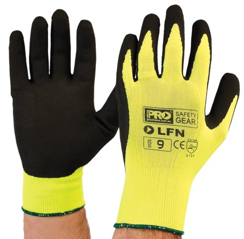 Glove - Rubber Latex ProSense Foam Palm Dip HI VIS Knit Liner - 11