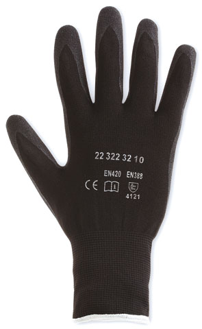 Glove- Nitrile Sandy Dip Palm Honeywell WorkEasy Polytril Plus Nylon Black - 11