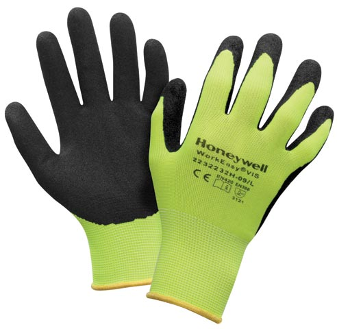 Glove- Nitrile Sandy Dip Palm Honeywell WorkEasy Polytril Plus HIVIS Polyester Black - 11