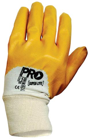 Glove - Nitrile Dip Palm 3/4 Back ProChoice SuperLite Orange Cotton Liner Knitwrist - 10