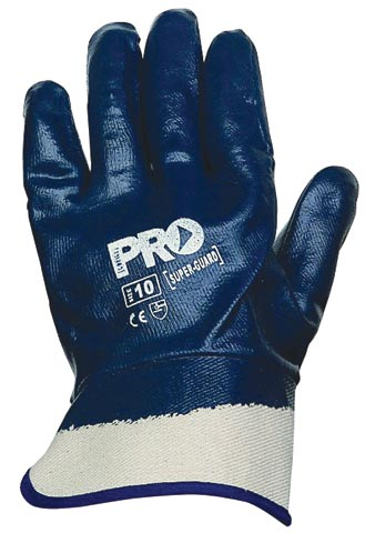 Glove - Nitrile Full Dip ProChoice SuperGuard Blue Cotton Liner Safety Cuff - 11