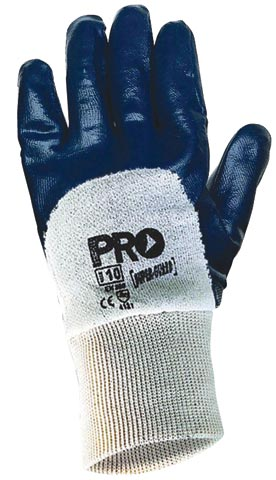 Glove - Nitrile Dip Palm 3/4 Back ProChoice SuperGuard Blue Cotton Liner Knit Wrist - 10