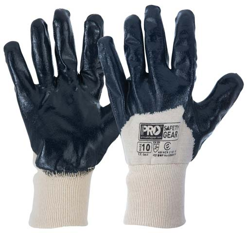 Glove - Nitrile Dip Palm 3/4 Back ProChoice SuperLite Blue Cotton Liner Knitwrist - 10