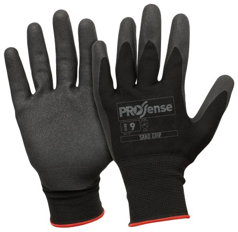 Glove - Nitrile Rubber ProSense Sandy Dip Coat Nylon Liner Black - 12