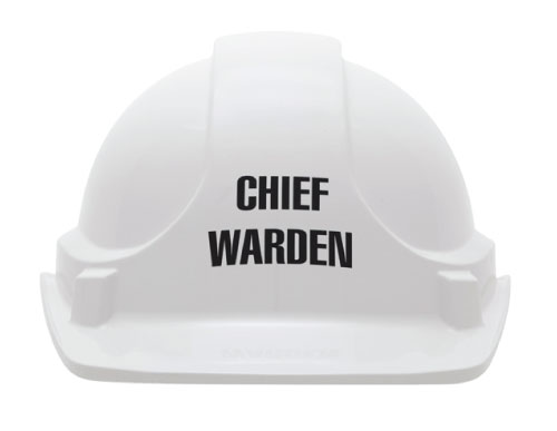 Cap - Safety ABS 3M TA560 Non-Vented (Type 1) Terylene Headgear Chief Warden Logo - White