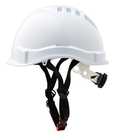 Cap - Safety ABS ProChoice Airborne Linesman Unvented Micro Peak c/w Ratchet Harness & Chin Strap - White