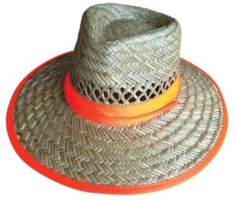 Hat - Straw ProChoice Orange Trim c/w Green Underside Toggle Fastener - XL