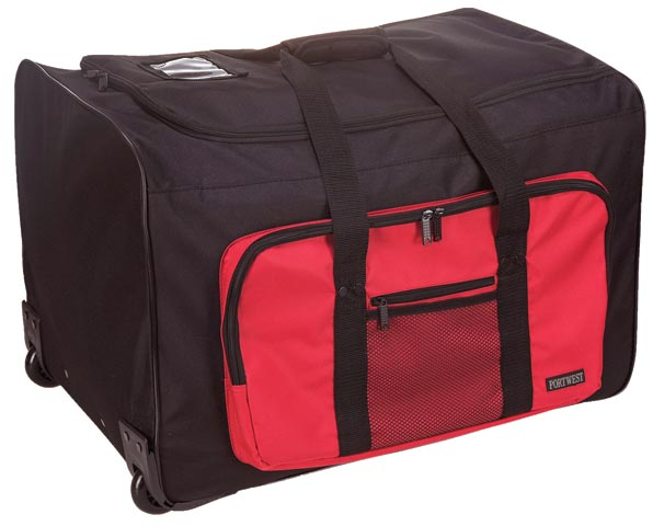 Gear Bag - Duffle Style Trolly Bag Portwest B907 Multi Pocket 100L 60x40x42cm - Black/Red