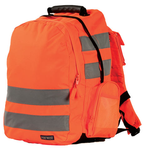 Back Pack - Polyester Portwest B904 Quick Release HI VIS c/w Tape 25L 43cm x 28cm x 21cm - Orange