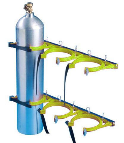 Cylinder Restraint - Galvanised for 3 Bottle 100-145mm - Yellow