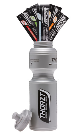 Electrolyte Drink & Bottle Combo Pack - Thorzt Sugar Free Tradies Pack (5 x 3gm Solo Shots & 800ml Bottle) - Mixed Flavours
