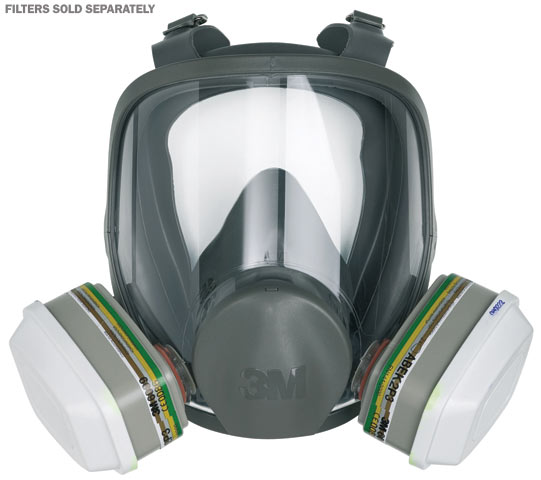 Respirator - Full Face Reusable 3M 6000 Series 6800 Silicone/TPE c/w PC Visor Twin Filter - M