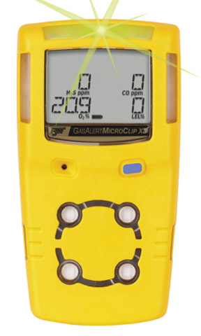 Gas Monitor - 4 Gas Detector Gas Alert MicroClip X3 - %LEL/O2/H2S/CO