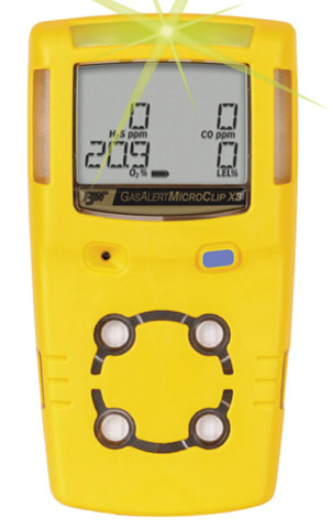 Gas Monitor Kit - Gas Alert MicroClip X3 Confined Space 4 Gas %LEL/O2/H2S/CO c/w Trigger Regulator