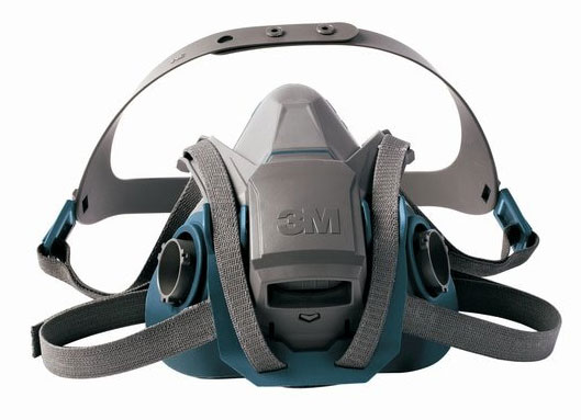 Respirator - Half Face 3M 6500 Rugged Comfort 6502QL Quick Latch Series Silicone Twin Filter - M