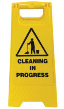 Floor Stand - A Frame Sign ProChoice 'Cleaning in Progress' - Yellow