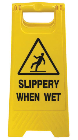 Floor Stand - A Frame Sign ProChoice 'Slippery When Wet' - Yellow