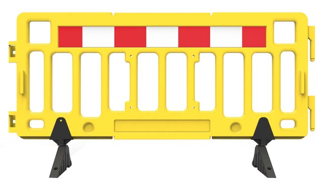 Barrier - Portable Plastic Fence 1.0M(H) x 2.0M(W) 12kgs c/w Ref. Panels & Rubber Feet HI VIS Orange