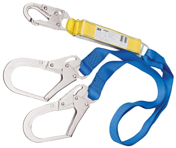 Lanyard - Double Tail 3M Protecta First 1390065A Shock Absorbing Webbing c/w Scaffold Hooks - 2.0M
