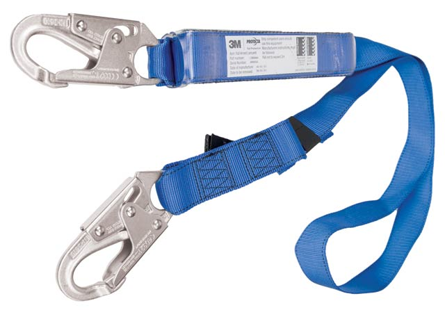 Lanyard - Single Tail 3M Protecta First 1390066A Shock Absorbing Adjustable Webbing c/w Snap Hooks - 2.0M