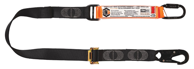 Lanyard - LinQ Shock Absorbing Webbing Single Leg c/w DA Snap Hook & Karabiner - 2.0M