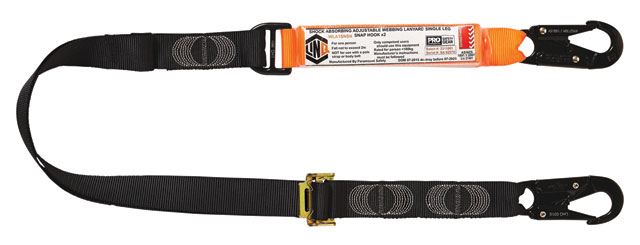 Lanyard - LinQ Shock Absorbing Adjustable Webbing Single Leg c/w Snap Hook Both Ends - 2.0M