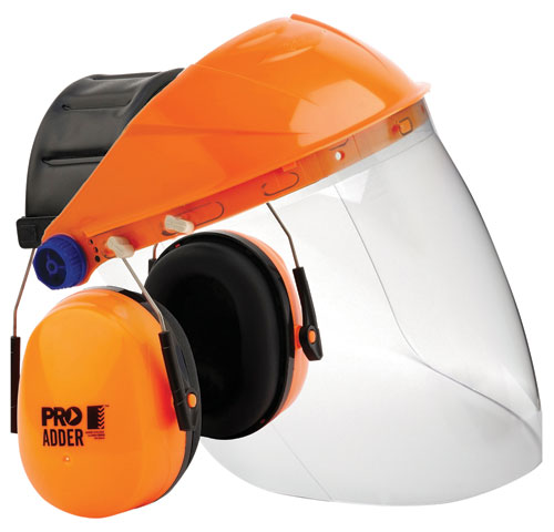 Faceshield Earmuff Kit - Clear ProChoice c/w Browguard/Clear Visor/Adder Earmuff Assembled