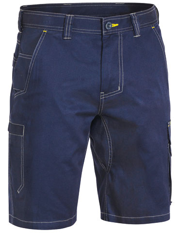 Shorts - Bisley Cotton Drill 190gsm Cargo Cool Vented Lightweight Contrast Stitch Navy - 132