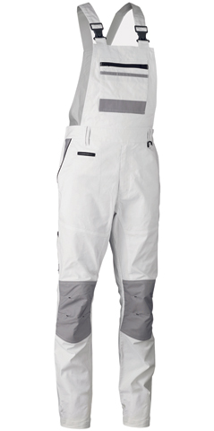 Overall - Bisley BAB0422 Painters Contrast Bib & Brace Stretch Cotton 280gsm Elastic Back White - 132S
