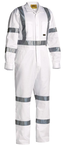 Overall - Bisley Cotton Drill Heavyweight 310gsm Coveralls HI VIS  N c/w Tape White - 132S