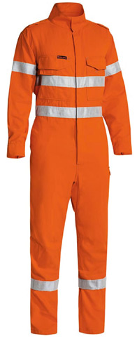 Overall - Flame Resistant Bisley Tecasafe Plus 580 Lightweight Coverall 197gsm HI VIS D/N c/w Tape Orange - 132S