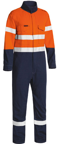 Overall - Flame Resistant Bisley Tecasafe Plus 580 Lightweight Coverall 197gsm 2 Tone HI VIS D/N c/w Tape Orange/Navy - 132S