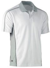 Polo - Polyester Bisley BK1423 Painters Contrast 130gsm Open Mesh Short Sleeve White - 6XL