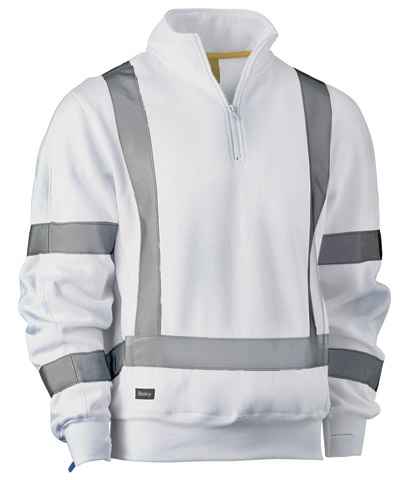 Pullover - Bisley BK6321XT Poly/Cotton 300gsm Fleece 1/4 Zip HI VIS Night c/w Tape White - 6XL