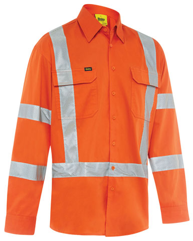 Shirt - Bisley BS6166XT Cotton Drill 155gsm Biomotion Vented HI VIS D/N c/w Tape L/Sleeve Orange - 6XL