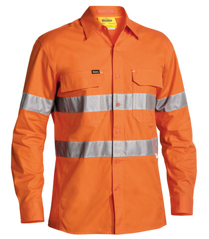 Shirt - Bisley RIPSTOP Cotton 150gsm X Airflow Vented L/Sleeve HI VIS D/N c/w Tape Orange - 6XL
