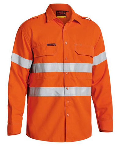 Shirt - Flame Resistant Bisley BS8081T Tecasafe Plus 700 238gsm L/S HI VIS D/N c/w Tape Orange - 6XL