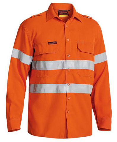 Shirt - Flame Resistant Drill Bisley Tecasafe Plus 580 197gsm Closed Front L/S HI VIS D/N c/w Tape Orange - 6XL