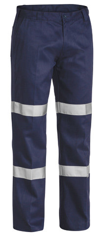 Trouser - Bisley Cotton Drill 310gsm Pleat Front c/w Double Tape Navy - 132S