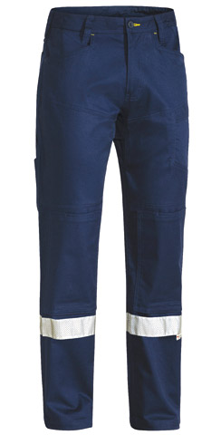 Trouser - Bisley RIPSTOP Cotton Twill 240gsm Vented HI VIS N c/w Tape Navy - 132S