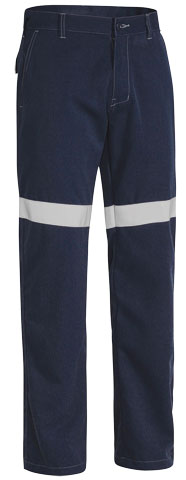 Trouser - Bisley Flame Resistant Tecasafe Plus 580 L/Weight 197gsm HI VIS N c/w Tape Navy - 132S
