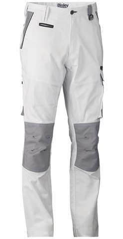 Trouser - Bisley BPC6422 Painters Contrast Stretch Utility Zip Cargo Cotton Canvas 280gsm White - 132S