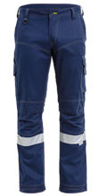 Trouser - Bisley RIPSTOP Engineered Cargo Cotton Twill 240gsm HI VIS N c/w Tape Navy - 132S