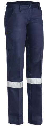 Trouser - Bisley Womens Cotton Drill 310gsm Pleat Front c/w Tape Navy - 24